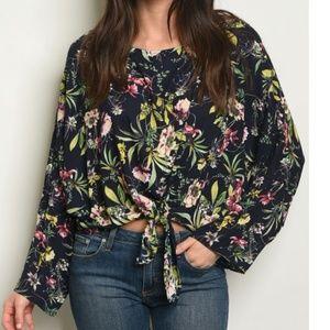 NWOT Tropical Floral Print Tie Front Blouse Top